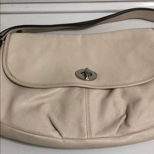 White/cream coach purse
